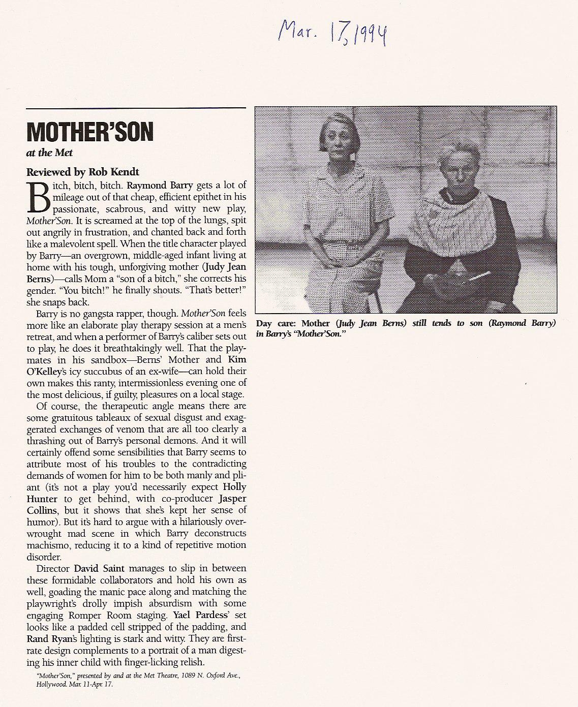 Mother'Son at the Met Theatre